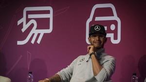 Conferencia del piloto Lewis Hamilton en el Mobile World Congress.