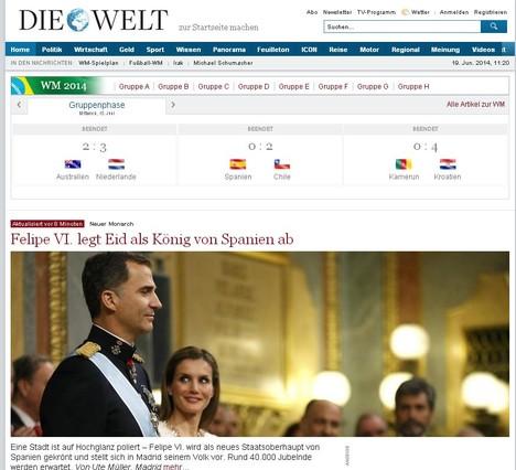 Capçalera {Die} {Welt} es fa ressò de la coronació de Felip VI.