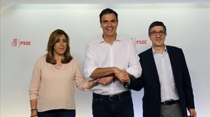 Díaz, Sánchez y López en la sede del PSOE el pasado domingo, tras conocerse los resultados de las primarias.