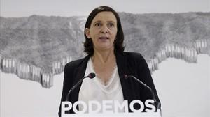 La dirigente de Podemos Carolina Bescansa, este martes, en rueda de prensa.