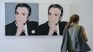 Doble retrato de Vijande, realizado por Andy Warhol en 1983, expuesto en la muestra de la Fundació Suñol.