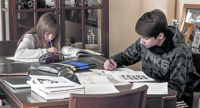 Dos hermanos hacen deberes en casa.