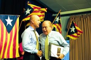 Duran Lleida y Pujol, en un mitin de CiU en Castelldefels en el 2001.