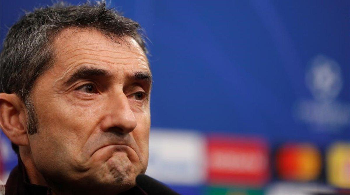 Ernesto Valverde, en una rueda de prensa de la Liga de Campeones.