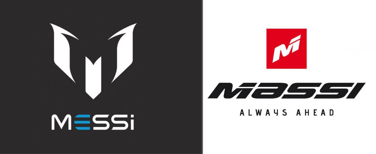 El logo de la marca del futbolista del Barça Leo Messi, al lado de la del denunciante Massi.