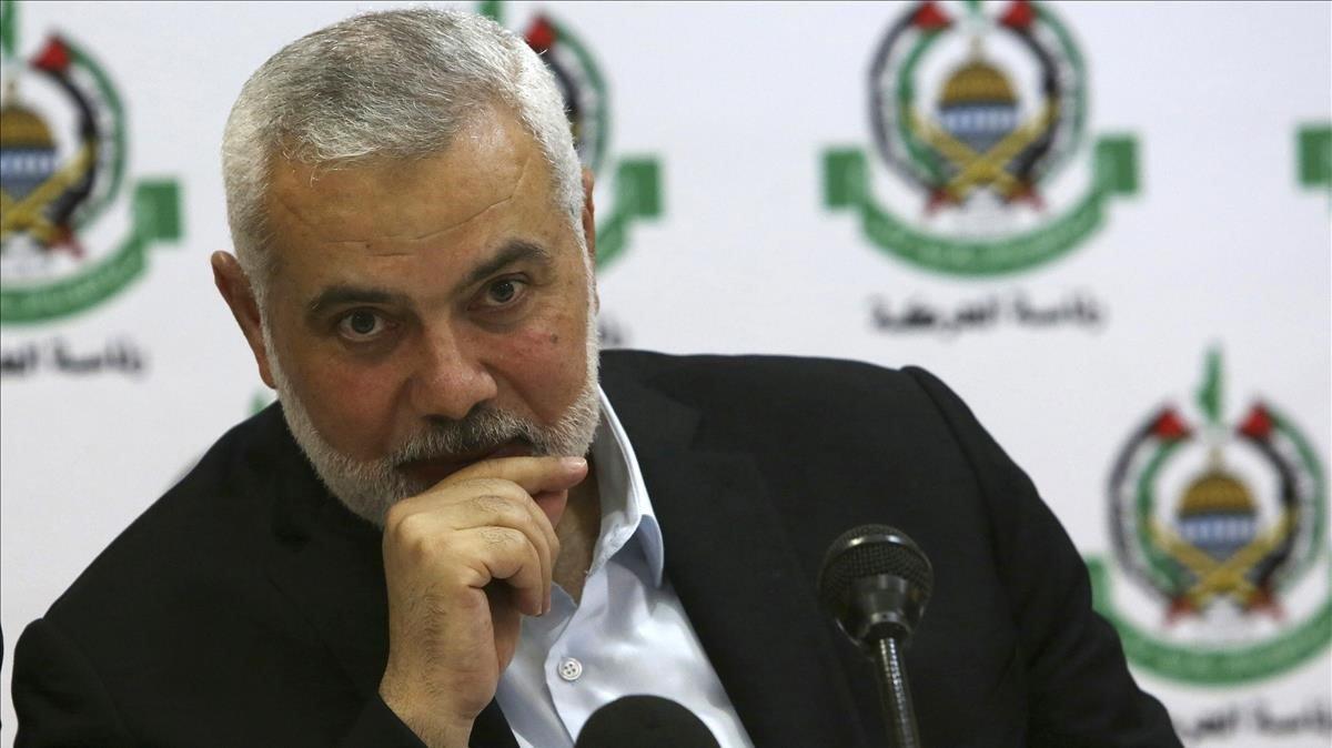 Ismail Haniyeh en la rueda de prensa de este jueves en un hotel de Gaza.