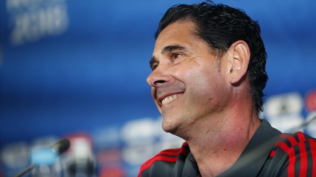 Hierro, en la conferencia de prensa que ofreció en el Kazán Arena.