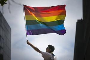 Un hombre sostiene la bandera gay del arcoiris en una marcha en San Francisco, Estados Unidos