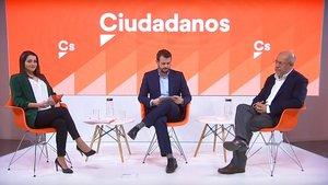 Inés Arrimadas y Francisco Egea, durante el cara a cara previo a las primarias de Cs.