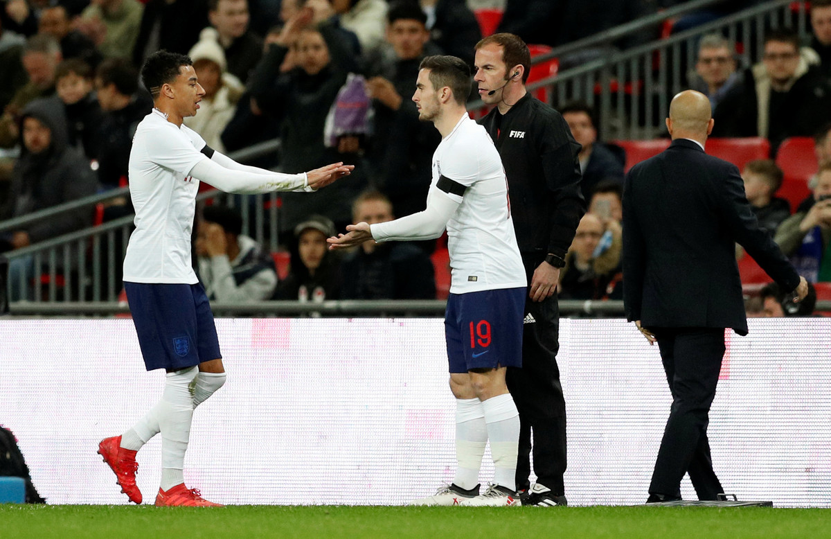 Soccer Football - International Friendly - England vs Italy - Wembley Stadium, London, Britain - March 27, 2018 England's Lewis Cook comes on as a substitute to replace Jesse Lingard Action Images via Reuters/John Sibley