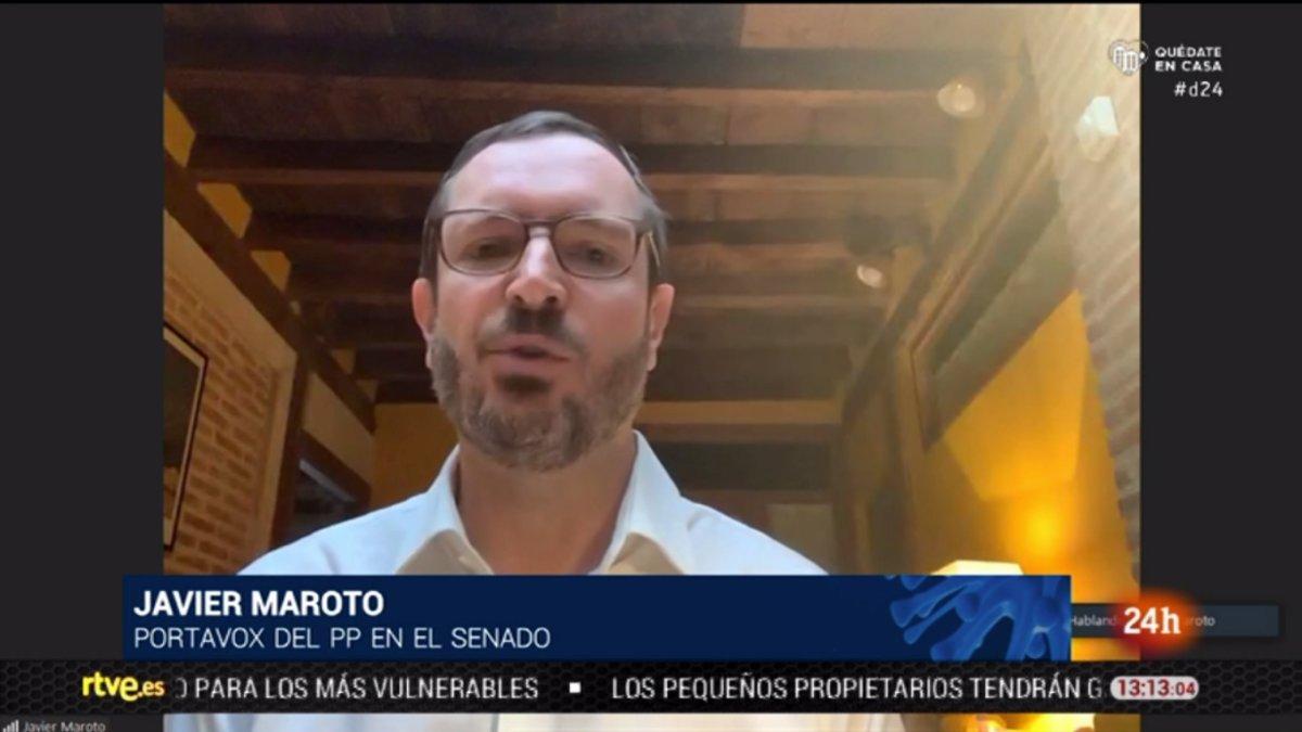 Javier Maroto y el rótulo erróneo del Canal 24 horas (TVE).