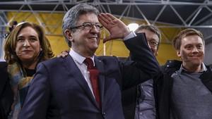 Jean Luc Mélenchon, líder de la izquierda francesa, en un acto de En Comú Podem.