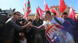 Podemos, con Pablo Iglesias al frente, en la manifestación de Madrid.