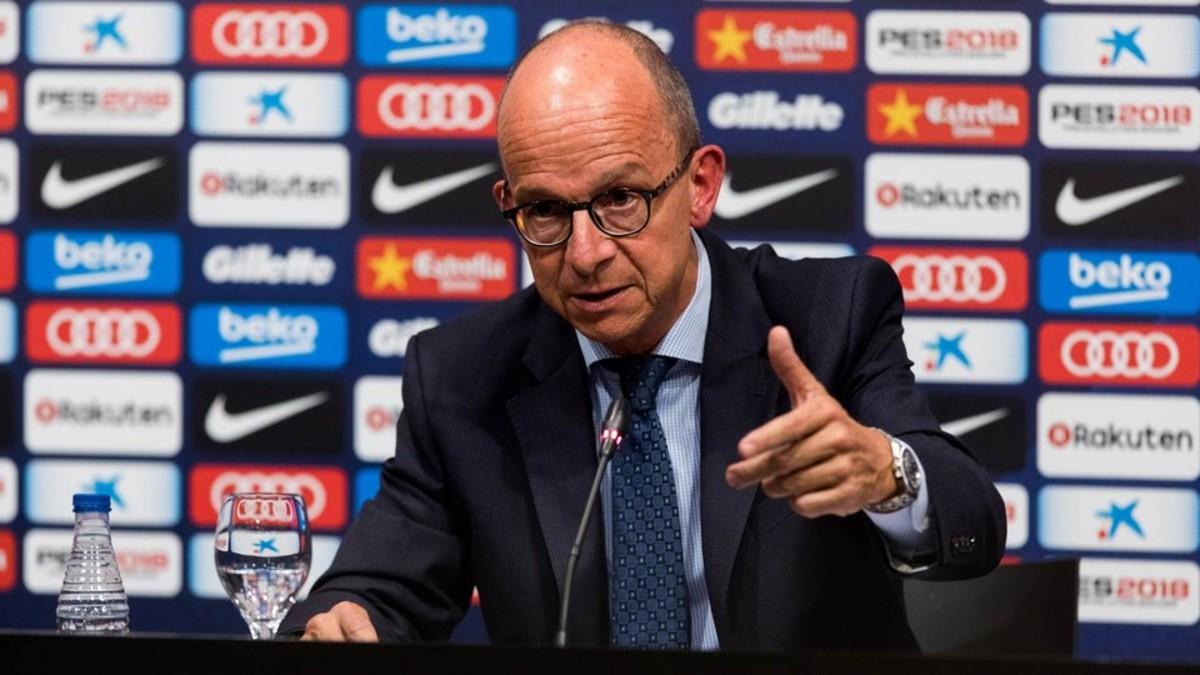 Jordi Cardoner, el vicepresidente del área social del Barça, en la rueda de prensa.
