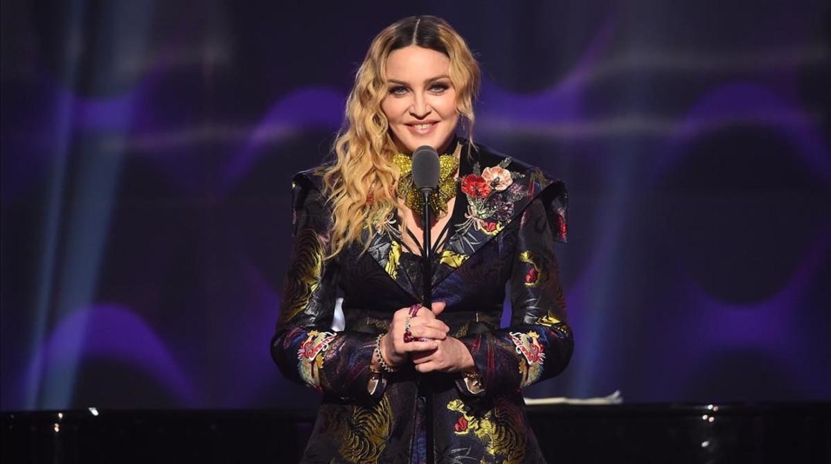 Madonna, durante su discurso.