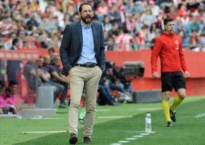 Machín, durante un partido en Montilivi.