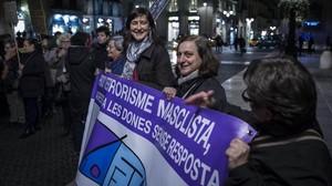 Manifestación contra la violencia machista celebrada el pasado mes de febrero en Barcelona.