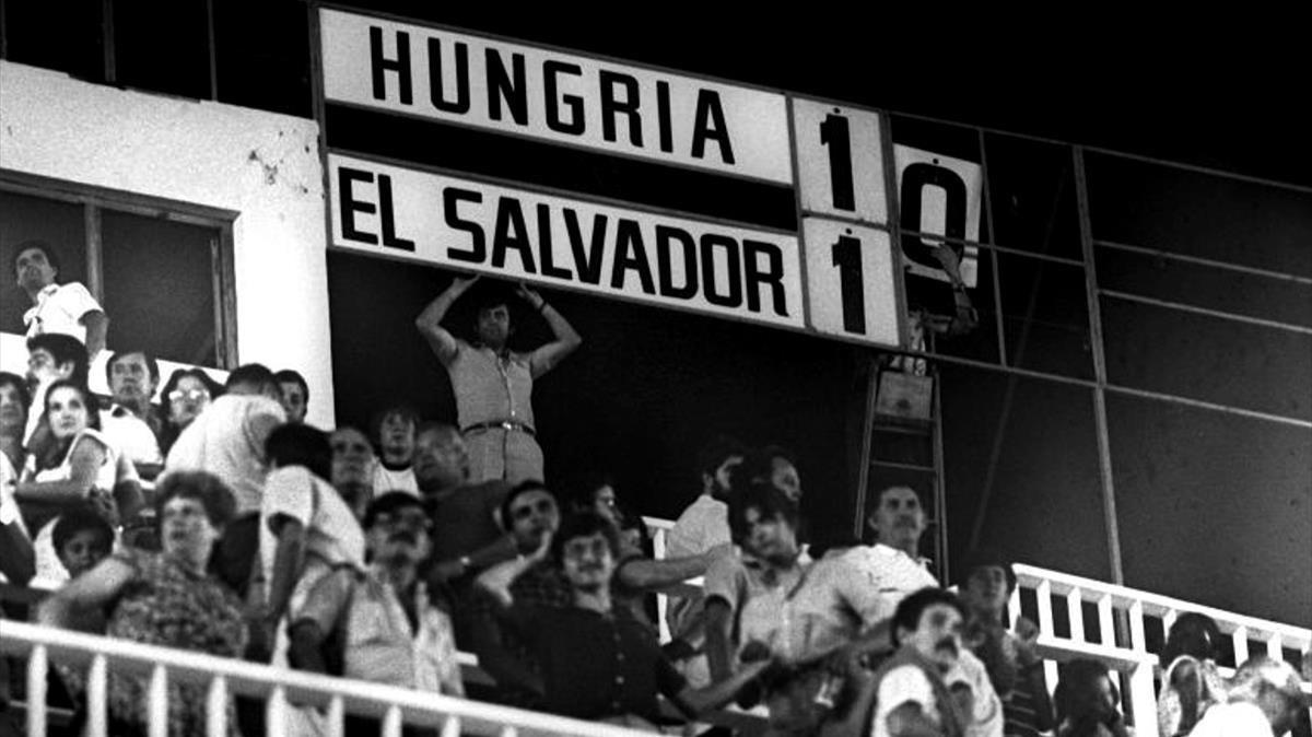 Marcador del Hungría contra El Salvador en Elche en 1982.