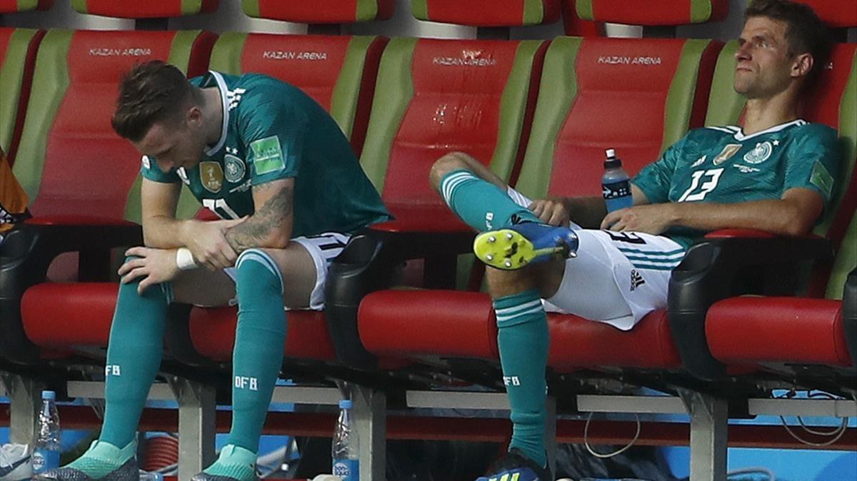 Marco Reus y Thomas Müller, abatidos.