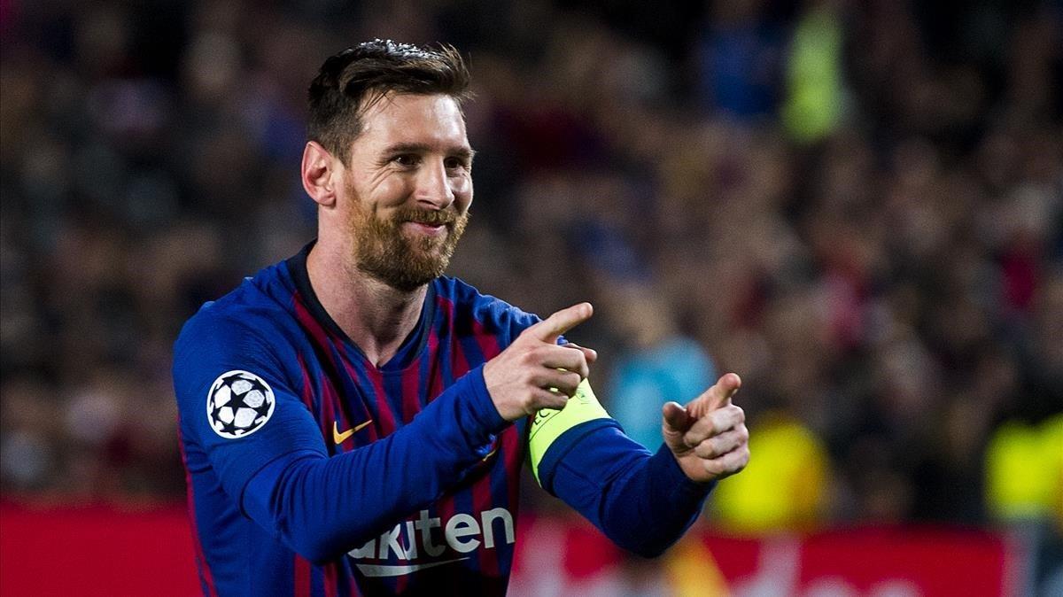 Messi celebra un gol ante el Olympique de Lyon.