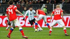 Messi, durante una acción del partido.
