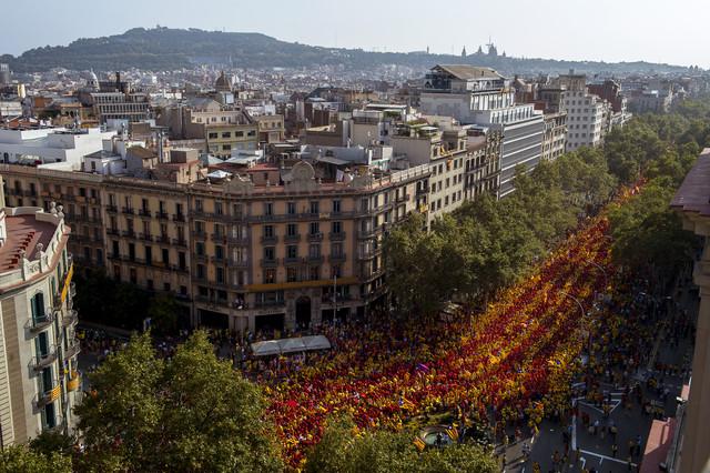 Mosaico de la gran V en Barcelona.