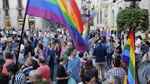 Concentración del colectivo LGTBI en Barcelona en junio pasado.