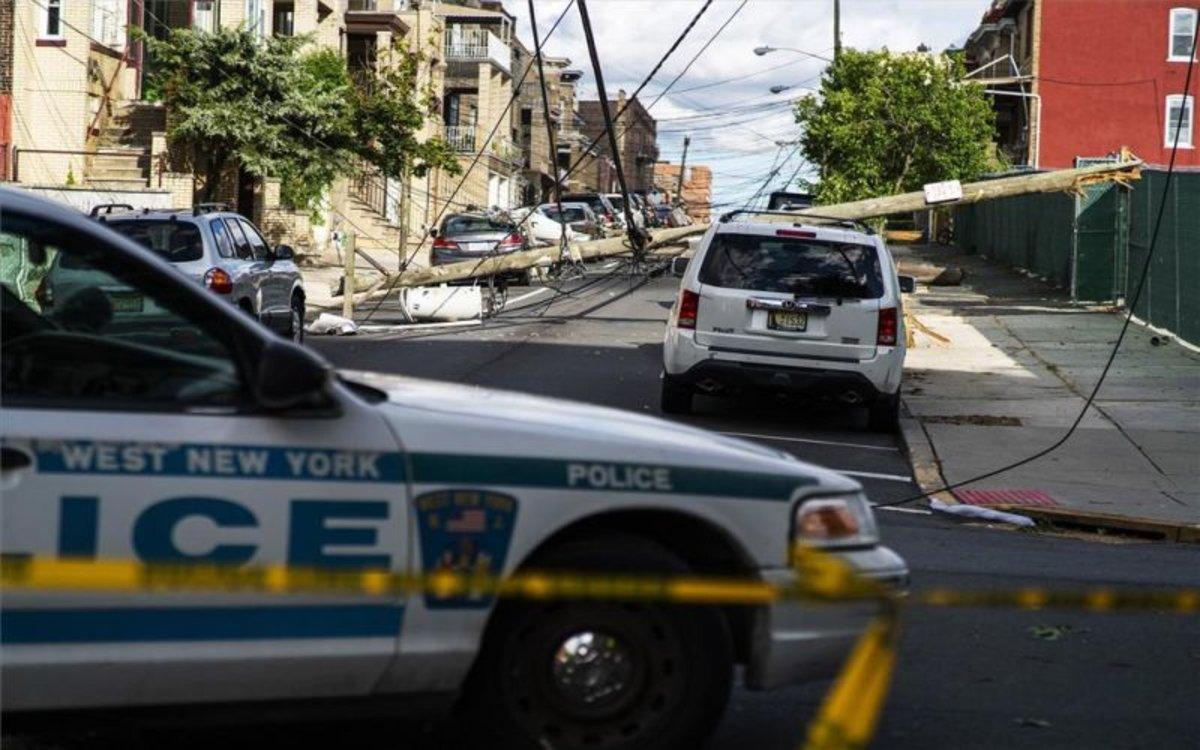 Daños en la red de electricidadde Nueva York.