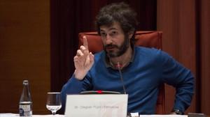 Oleguer Pujol, durante su declaración ante la comisión Pujol del Parlament.