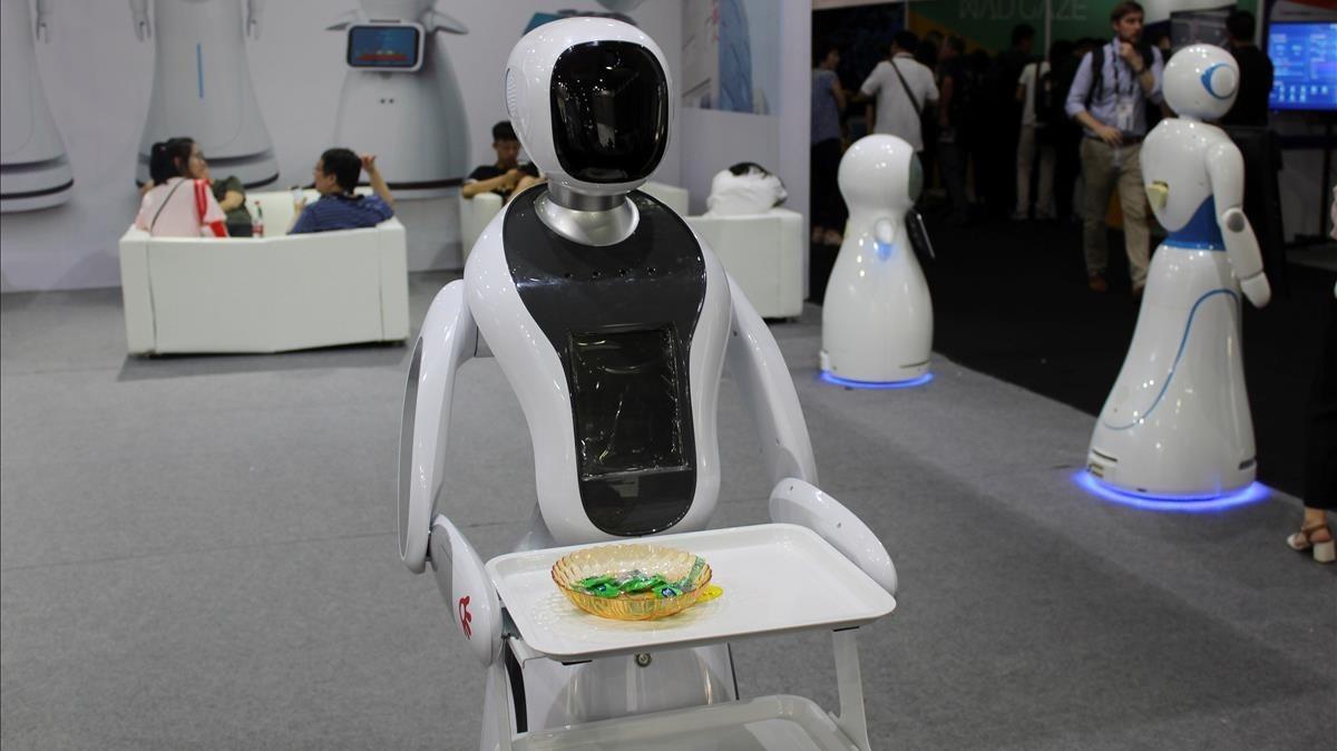 Presentación de robots en la feria CES de Shanghái, el pasado junio.