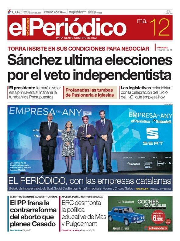 La portada de EL PERIÓDICO del 12 de febrero del 2019