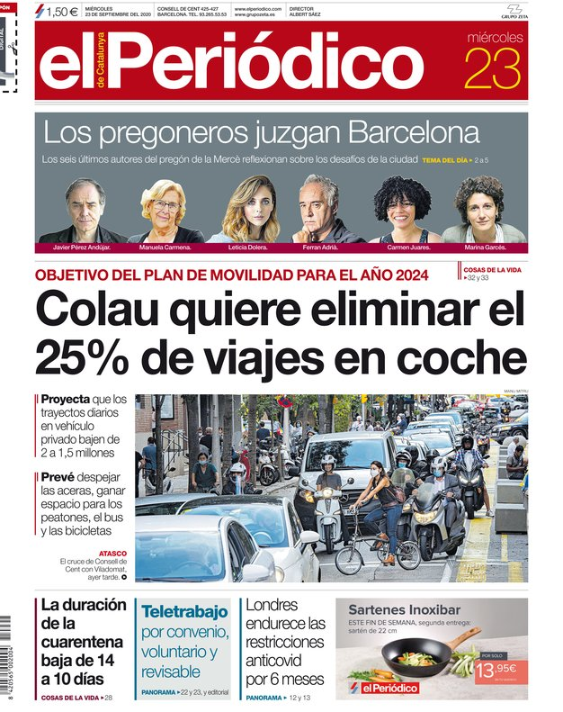 La portada de EL PERIÓDICO del 23 de septiembre del 2020.