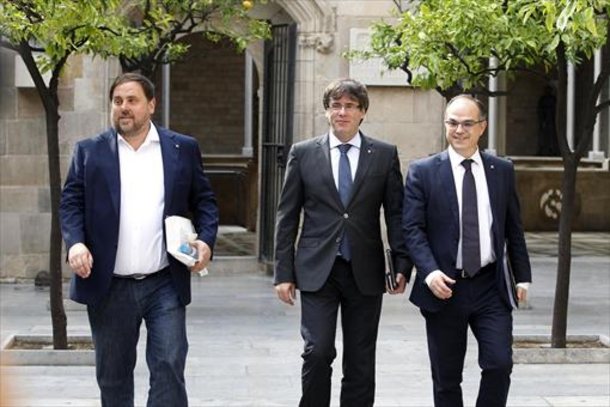 Junqueras, Puigdemont y Turull, el 1 de agosto.