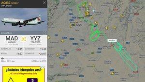 Recorrido del avión de Air Canada ACA837 que está sobrevolando los alrededores del aeropuerto de Madrid a la espera de realizar un aterrizaje de emergencia, este lunes.