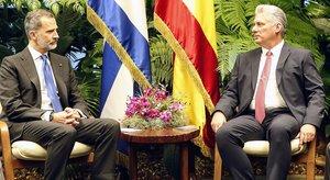 El rey Felipe VI y el presidente cubano,Miguel Díaz-Canel, durante su encuentro el martes pasadoen La Habana.