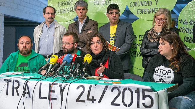 Roda de premsa de Carlos Macías, portaveu de la PAH, sobre la llei contra la pobresa energètica.