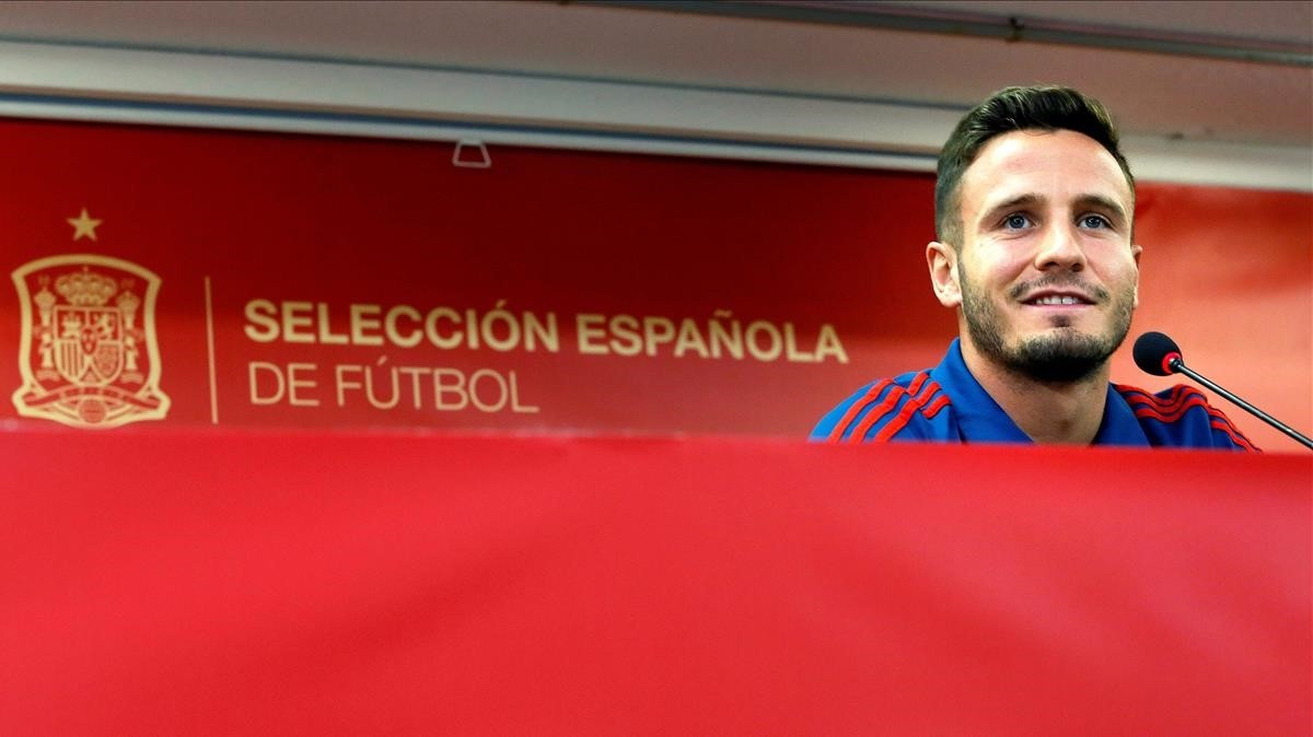 Saúl Ñíguez, en la rueda de prensa ofrecida en el Rico Pérez de Alicante.