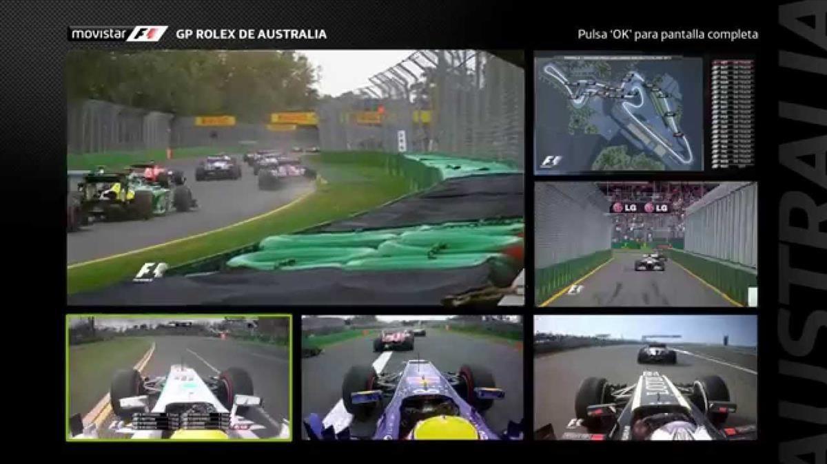 Imagen de la multipantalla de Movistar+ durante la retransmisión delGran Premio de Australia de fórmula 1.