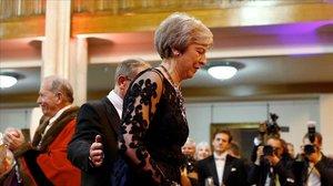 Theresa May en un banquete el lunes en Londres.