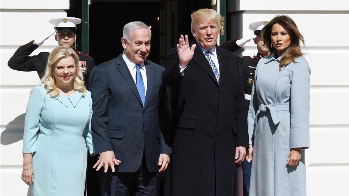 Trump y Netanyahu, con sus respectivas esposas, este lunes 5 de marzo en Washington.