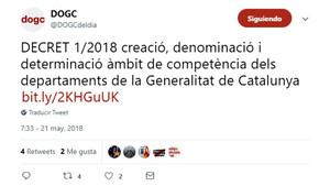 Tuit de la cuenta oficial de DOGC anunciando la publicación del decreto de competencias de las 'conselleries'.