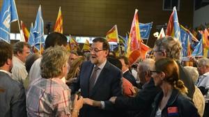 Rajoy, en un mitin en Barcelona, en la campaña de las municipales del 2015.