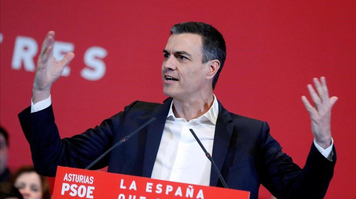 Pedro Sánchez, el miércoles durante un mitin en Gijón.