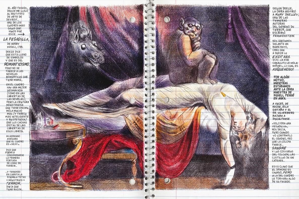 Páginas de 'Lo que más me gusta son los monstruos', de Emil Ferris.