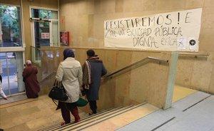 El CAP Drassanes durante la huelga de médicos de este lunes.