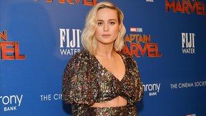 La actriz Brie Larson, en la presentación en Nueva York de la películaCapitana Marvel.