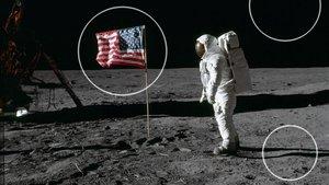 Imagen captada durante el primer paseo lunar del Apollo 11 en el que se señalan las ondulaciones de la bandera, la falta de estrellas y las enigmáticas sombras proyectadas; algunos de los argumentos utilizados para demostrar que el alunizajefue un fraude