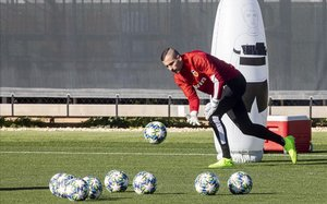 Jaume Doménech en el último entrenamiento antes del transcendental partido en Amsterdam