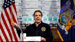 El gobernador de Nueva York, Andrew Cuomo en una de sus habituales rudas de prensa sobre el coronavirus.
