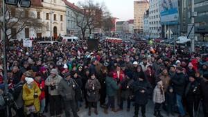 Marcha ciudadana en memoria de Jan Kuciak, el periodista asesinado junto a su novia, en Bratislava, el 28 de febrero.